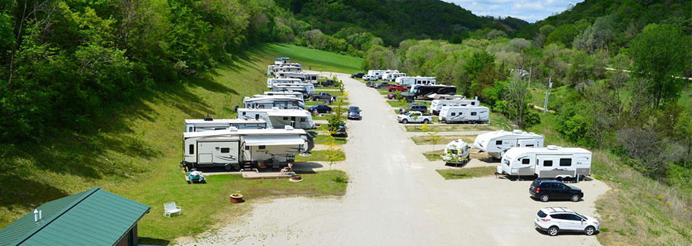 A picture of the RV Park with a few plots used